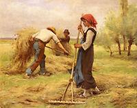"Art Oil painting busy Farmers in autumn harvest season landscape canvas 36"""