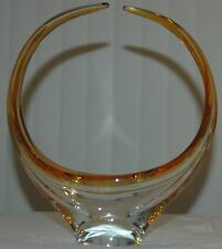 Beautiful Art Glass Chalet Canada Signed Basket / Bowl Orange Amber Yellow