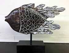 XL Wooden Hand Carved Big Fish Contemporary Ornament Sculpture on Stand 6904