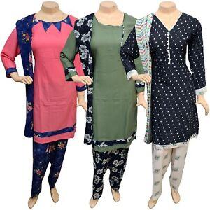 Pakistani Indian Printed Crepe Suit Dress Casual Stitched Salwar Kameez Shalwar