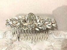 A Grade Bridal Wedding Cryatsl Flower Hair Comb Clip Diamante Rhinestone