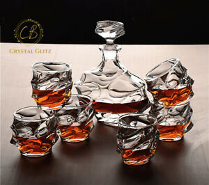 Whiskey Decanter and Glasses Set ,1 Decanter & 6 Glasses for Scotch / Rum/ Vodka