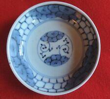 Antique 19th c. Japanese Blue and White Porcelain Bowl Honeycomb Flower Motif