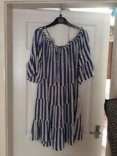 Primark Ladies Cold Shoulder Tiered Dress Size 14 Colour Blue & White Stripe