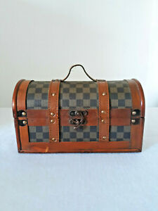 Damier Wald Imports Small Brown Wood Checkerboard Decorative Storage Trunk Chest