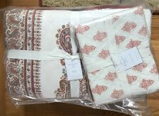 Pottery Barn Deya Quilt Ivory Red Queen Bhotah Block Print New No Shams