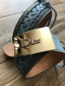 Christian Dior Belt Denim Runway Admit Trotter Leather Brown Lace AUTH Rare