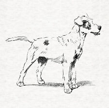 Terrier Dog, Charcoal Sketch  - Fabric Cushion /Upholstery Craft Panel