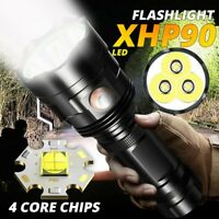80000LM Linterna XHP90 LED Antorcha Lámpara Impermeable Recargable USB 5 Modos