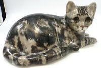 MIKE HINTON #5 Signed POTTERY LARGE Glass Eyes TORTOISE TABBY CAT FIGURINE UK