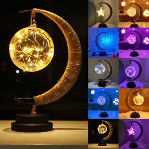 LED Night Light Star Moon Lamp Bedroom Decor Table Lamp Charming Lunar Lamp Gift