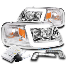 FOR 97-03 FORD F-150 LED TUBE CHROME PROJECTOR HEADLIGHT LAMP +DRL SIGNAL+6K HID