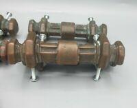 "6 Large Heavy Vtg  Drawer Pulls 5"" KEELER BRASS COMPANY KBC Patina Steampunk"