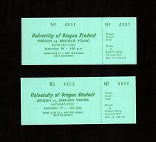>1964 FULL Football Tickets X 2 BRIGHAM YOUNG @ OREGON DUCKS in Eugene, Oregon