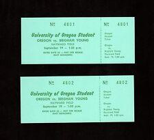 >1964 FULL Football Tickets X 2 BRIGHAM YOUNG @ OREGON DUCKS in Eugene, Oregon