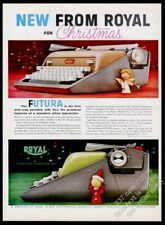 1958 Royal Futura typewriter 2 colors color photo Christmas vintage print ad