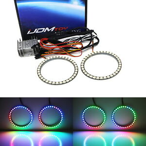 80mm RGBW Color Shifting Flashing LED Angel Eye Halo Ring Lighting Kit w/Remote