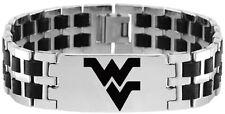 WEST VIRGINIA MOUNTAINEERS * Stainless Steel & Rubber Link Bracelet w/Logo  NCAA