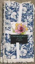 Cynthia Rowley Blue And White Floral Cloth Napkins Set 4 Lace Edging Cotton