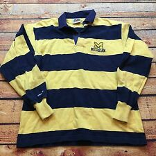 90s VTG UNIVERSITY MICHIGAN WOLVERINES Barbarian Rugby COLORBLOCK Polo L Shirt