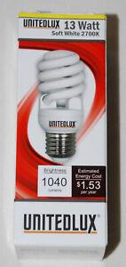 New! UnitedLux 13 Watt Soft White Mini Spiral Fluorescent T2 Lightbulb