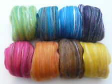 Heidifeathers® Needle Felting Wool 'Regal Mix' Merino Wool Roving With Silk