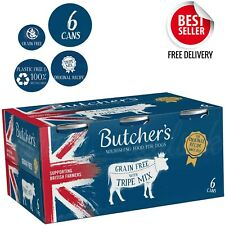 BUTCHER'S Wet Dog Food Tin Cans Grain Free Tripe Mix 24 x 400g Nutritious Food