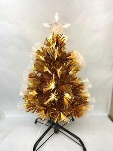 2 FT ' 0.6M  Table Top Gold Fiber Optic Christmas Tree