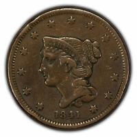 1841 1c Braided Hair Large Cent - VF Coin - SKU-Z1342