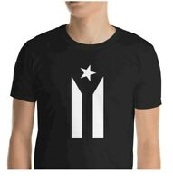 PUERTO RICO BLACK FLAG, BLACK T SHIRT W / WHITE FLAG