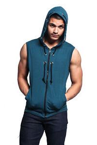 Victorious Men's Lightweight Sleeveless Zipper up Gym Vest Hoodie  SL888-H1A
