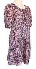SEE BY CLOE fully lined ladies silk/wood dress UK size 12  short sleeves purple