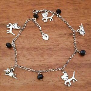 Adjustable Anklet Cat Charms Black Glass Crystal Beads - Wiccan Feline
