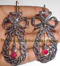 925 Victorian Design Ruby Dangle Earrings 4.92ct Antique Rose Cut Diamond Silver