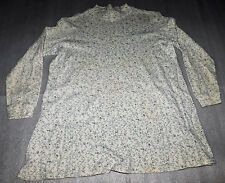 New Addition Maternity Stretch Long Sleeve Knit Top White Blue Floral Small