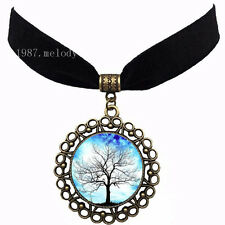 Tree of life Vintage women's fashion Velvet strip Cabochon Necklace Pendant