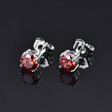 HUCHE Luxury Red Gemstone Ruby Silver Gold Filled Stud Lady Daily Party Earrings