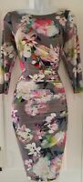 Womens Coast Grey Multi Floral Ruched Draped Stretch Wiggle Bodycon Dress 10 Vgc