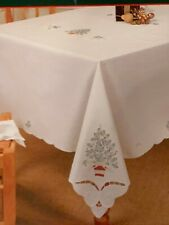 """Handcrafte Holiday Table Cloth Christmas Tablecloth Round 68"""" 173 cm Cutwork"""