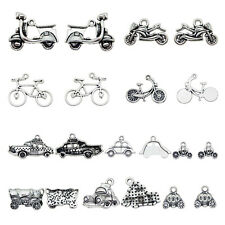 10 pcs Mix Vintage Silver Alloy Bicycle Car Bus Charms Pendants Craft Findings