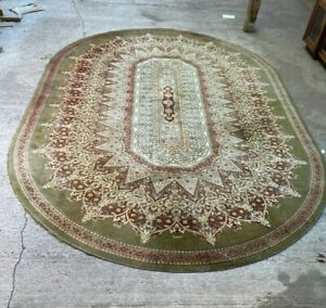 Vintage Antique Style Oval Green Pattern Rug 200x300cm