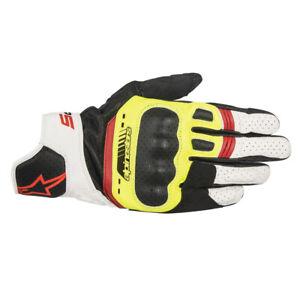10% Off ALPINESTARS SP5 Yellow/White/Red Leather Short Motorbike Gloves