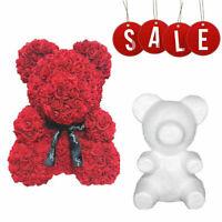 1Pc Polystyrene White Foam Bear Mold Rose Bear Birthday Gifts Wedding Xmas DIY