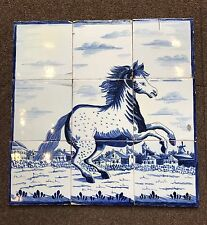 SUPER A Complete Set Of 9 Dutch Delft Tiles Of Standing Horse Mural C.17th Cent.