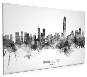 Hong Kong Skyline, Poster, Canvas or Framed Print, watercolour painting 23652