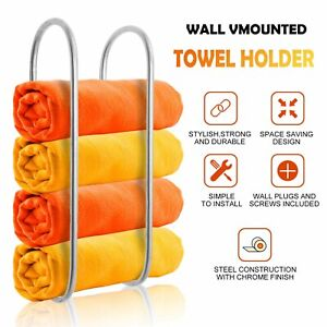 Wall Mounted Chrome Towel Holder Shelf Bathroom Storage Rack Rail Bar Stand