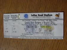 30/08/2001 Ticket: Queens Park Rangers v Bristol City [Directors Box & Trophy Ro