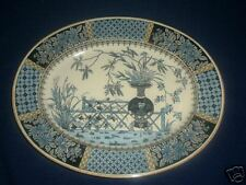 1850s English W T Copeland and Sons Transferware Platter in Teal Blues and Cream