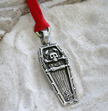 GOTHIC COFFIN SKULL Pewter Christmas ORNAMENT Holiday