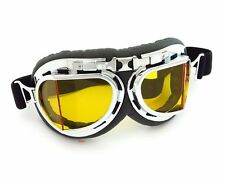 Vintage Aviator Style Motorcycle Goggles - Black Chrome - Yellow Lens